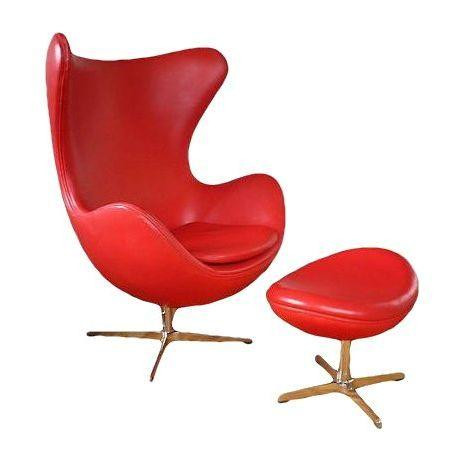 Arne Jacobsen Style Red Leather Chair & Ottoman