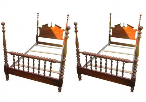 Twin Cannon Ball Beds...I am a HUGE fan of twin bed sets for girls...They are perfect for sleepovers, add a trundle under each and you can fit at least 16 girls in a room! Plus you know I LOVE spindle beds!