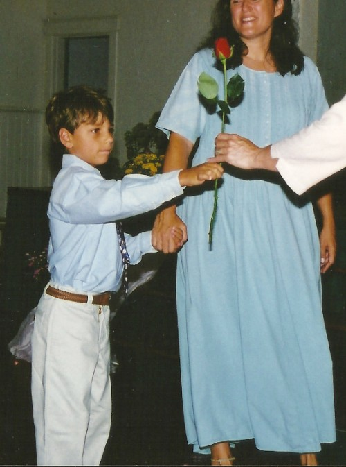 TATE ON THE FIRST DAY OF FIRST GRADE - THE ROSE CEREMONY