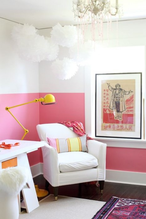 half wall of colour in home office of Shereen de Rousseau