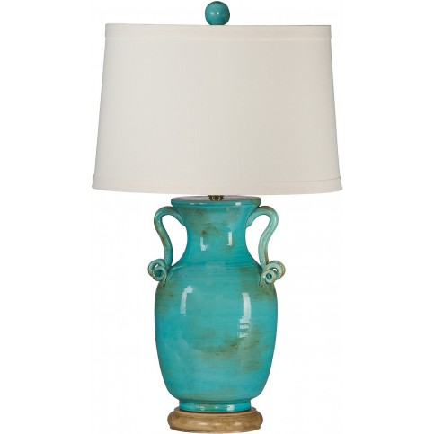 Blue Kipps Bay Ceramic Lamp with Shade