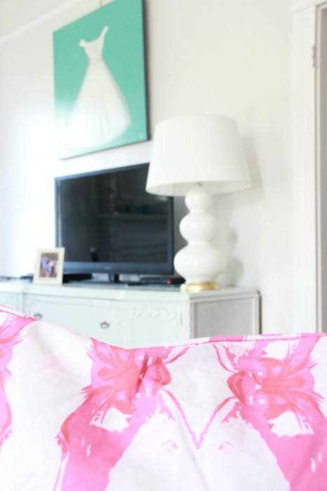 """I DECIDED TO simplify and eliminate the GALLERY wall behind the TV. I kept the """"DRESS"""" painting...and love the results!"""