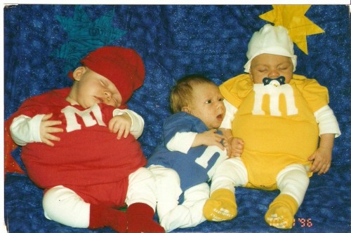 1996 - OUR VERY First Halloween! Tate was 2 1/2 months old...he and Harry (red) and Zach...snuggled and slept while the excited Mommies and Dadies walked to 3 houses...thrilled to be embarking on our new adventures in parenting and the Halloween ritual began..oh boy did we have a GREAT RUN!!!