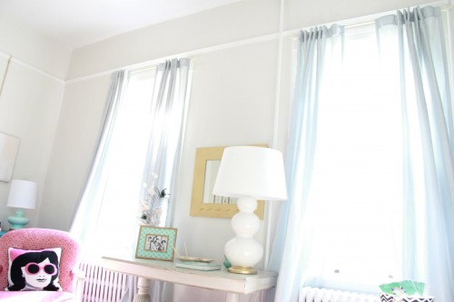 """These curtains are the Martha Stewart """"Faux Silk"""" in Rainwater from Home Depot. I just ordered a new pair for the dining room. They look so lovely and with the Tab back, hang beautifully."""