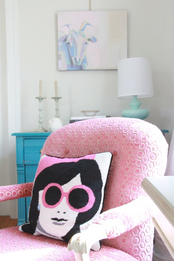 """GRAM""S CHAIR""...It has been reupholstered 5 times and in this incarnation is a PINK VELVET that Phoebe and I chose on our trip to MOOD FABRICS in New York."