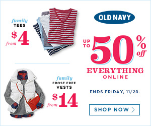 OLD NAVY UP TP 50% OFF ANYTHING