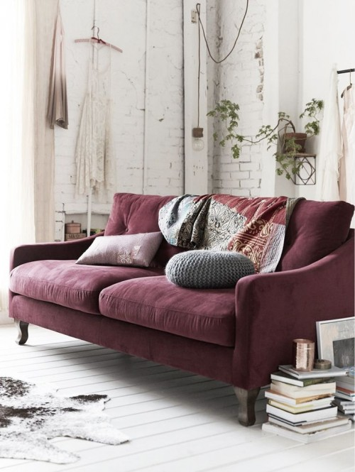 burgundy and cream walls