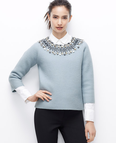 ANN TAYLOR JEWEL NECK SWEATER
