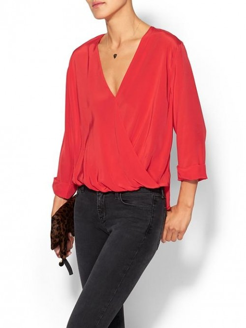 Rory Beca Womens Fronzie Front Twist Blouse  - Sin red