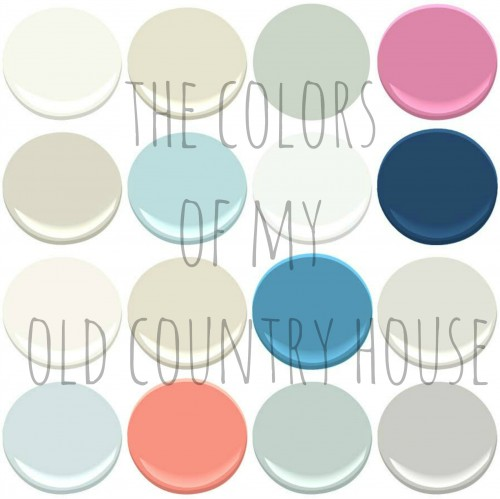 THE PAINT COLORS OF MY OLD COUNTRY HOUSE: BENJAMIN MOORE- SIMPLY WHITE. FEATHER DOWN, SEA SALT, PARADISE PINK, CLASSIC GRAY , BIRDS EGG, MOUNTAIN PEAK WHITE, DOWNPOUR BLUE, CHANTILLY LACE, MARITIME WHITE, POOLSIDE, OCEAN AIR, CORAL GABLES, PALLADIAN BLUE, STONINGTON GRAY