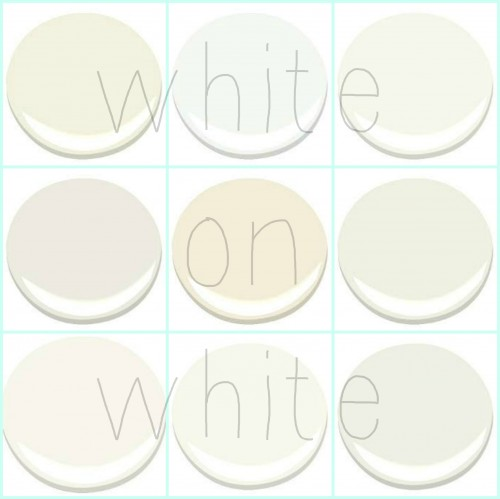 FROM TOP LEFT: ACADIA WHITE, CHANTILLY LACE, COTTON BALLS, GLACIER WHITE, LINEN WHITE, MOONLIGHT WHITE, MOUNTAIN PEAK WHITE, SIMPLY WHITE, WHITE DOVE