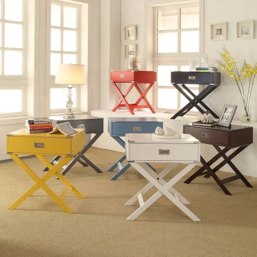 OVERSTOCK.COM INSPIRE Q KENTON WOODEN CAMPAIGN SIDE TABLE