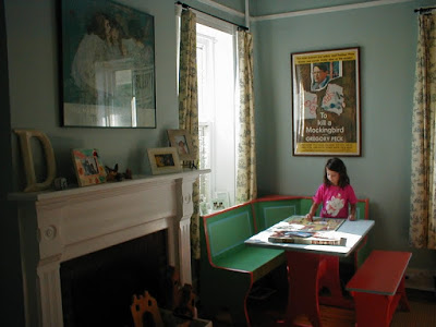 The original use of the dining room was as a playroom with a booth