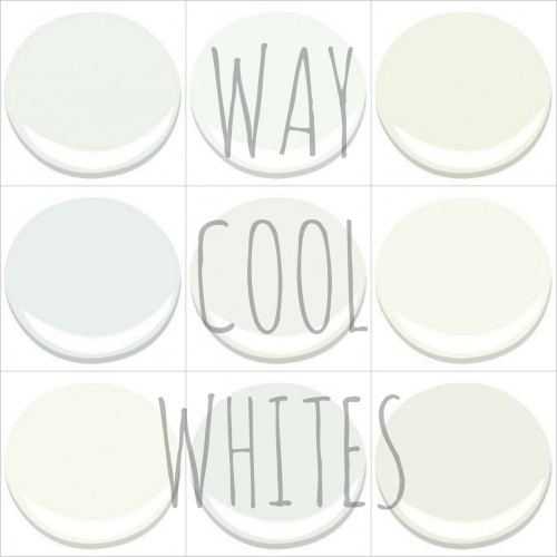 MY TOP PICKS - ALL BENJAMIN MOORE - FROSTINE, CHANTILLY LACE, CLOUD WHITE, DECORATORS WHITE, OXFORD WHITE, SIMPLY WHITE, SNOWFALL WHITE, WHITE CHRISTMAS AND WHITE DOVE.