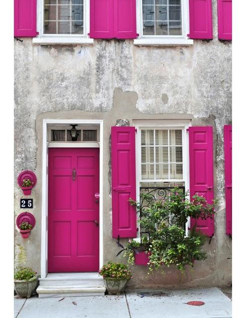 painted door - pink
