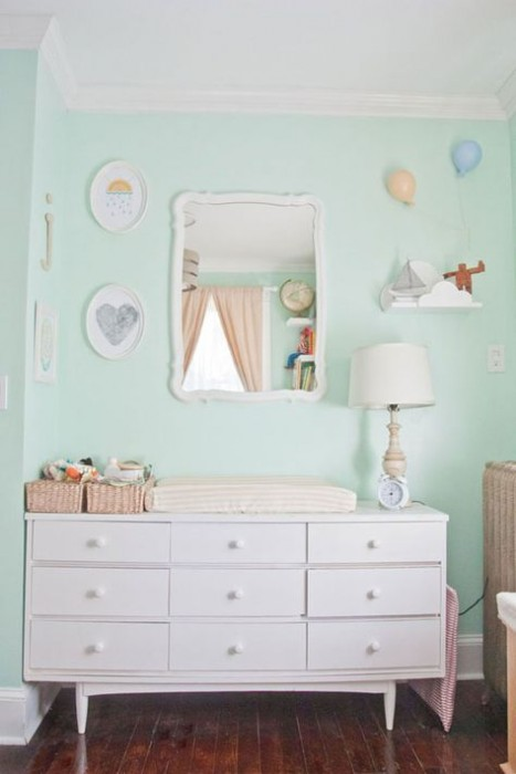 JUDES WHIMSICAL PASTEL NURSERY -VALSPAR MINT WHISPER - APARTMENT THERAPY