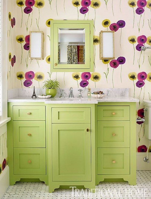 Green Vanity, Contemporary, bathroom, Benjamin Moore Stem Green, Traditional Home
