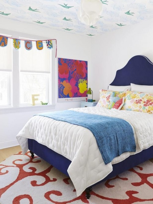 Three sisters got to pick a different color of the Julia Rothman Daydream color for their ceiling!