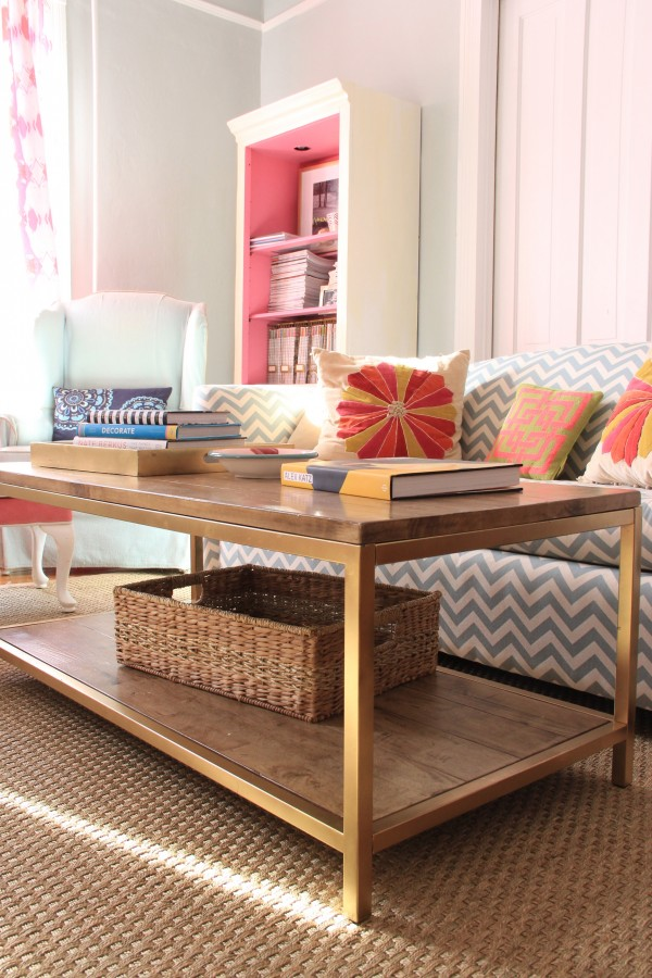 "Faux Gold ""Leaf"" and Wood Coffee Table"