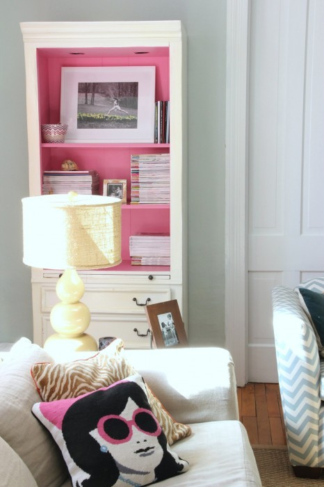 CABINET INTERIOR PAINTED BENJAMIN MOORE PARADISE PINK
