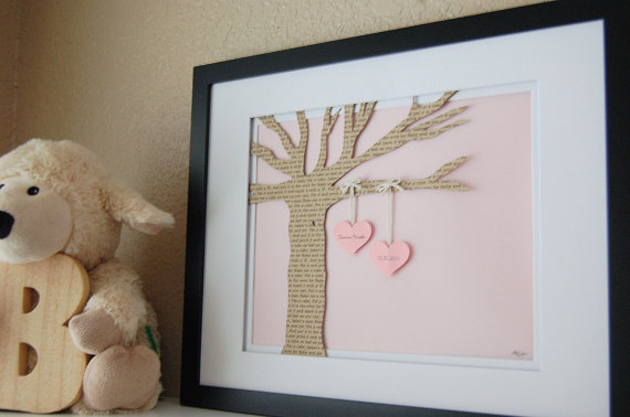 Personalized New Baby Gift - Nursery Art - Baby Gift - 8x10 Framed Personalized Paper Tree