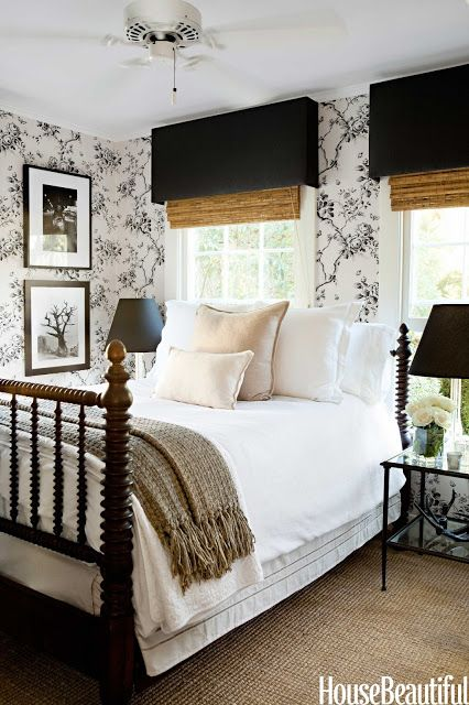 Interior Designer Tobi Tobin's Bedroom in House Beautiful with an AMAZINGLY beautiful Spindle bed!