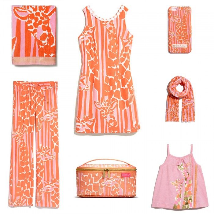 "SOME OF THE ITEMS AVAILABLE IN LILLY PULITZER ""GIRAFFERY""!"