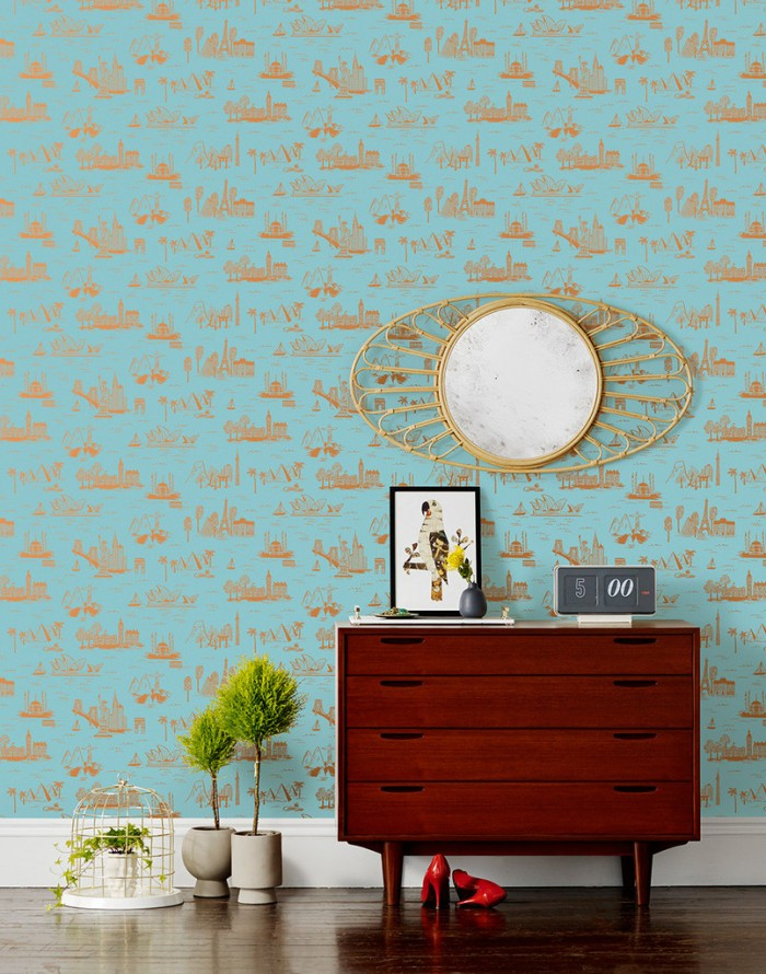 HYGEE AND WEST - CITIES TOILE IN ROBINS EGG