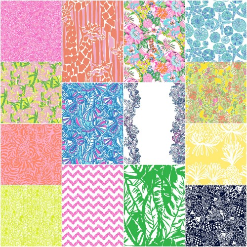 LILLY PULITZER FOR TARGET PATTERNS - GIRAFFERY, NOSIE POSEY, FAN DANCE, MY FANS, WAVEPOOL,  HAPPY PLACE, GIRAFFING ME CRAZY, BELLADONNA, BOOM BOOM, PINEAPPLE PUNCH, BOARDWALK CAFE AND UPSTREAM