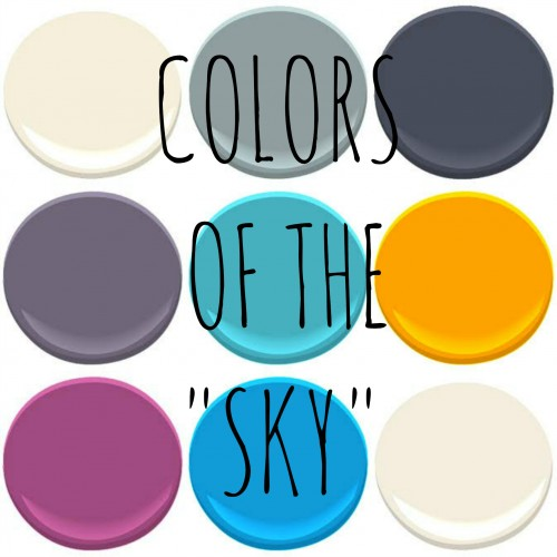 THE REST - THE MANY COLORS OF THE SKY BENJAMIN MOORE - OCTOBER SKY, CLOUDY SKY, EVENING SKY, NIGHTFALL SKY, BALTIMORE SKY, ORANGE SKY, PRE-DAWN SKY, ROCKY MOUNTAIN SKY AND STORMY SKY.