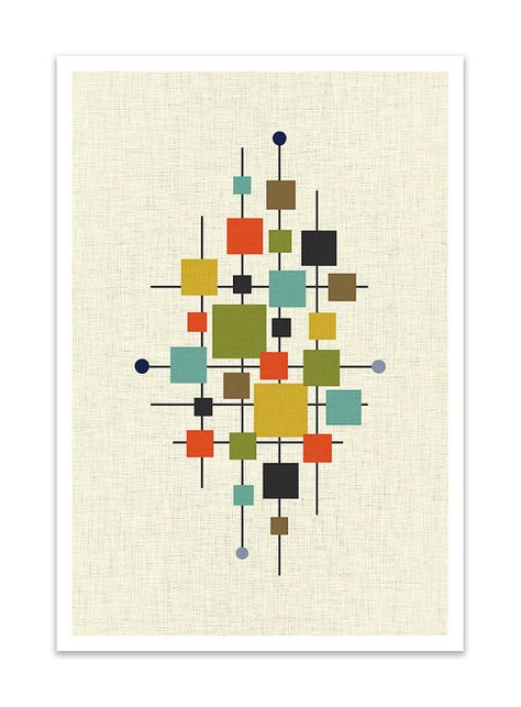 this easy AREA - Giclee Print - Mid Century Modern Danish Modern Minimalist Cubist Modernist Abstract Eames contains ALL of the colors of the 1960's