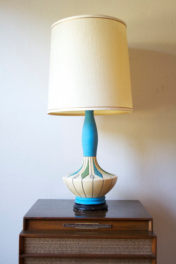 ETSY - TEAK AND CERAMIC LAMP