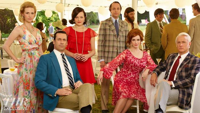 January Jones as Betty Francis, Jon Hamm as Don Draper, Elisabeth Moss as Peggy Olson, Vincent Kartheiser as Pete Campbell, Christina Hendricks as Joan Harris and John Slattery as Roger Sterling - Mad Men _ Season 7B, Gallery _ Photo Credit: Frank Ockenfels 3/AMC