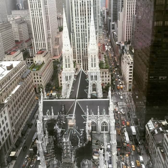 OUR VIEW FROM THE HOTEL ROOM WAS SPECTACULAR...WE OVERLOOKED ST PATRICK'S (UNDER RENOVATION) CATHEDRAL ON 5TH AVENUE...IT BLEW MY MIND!!!