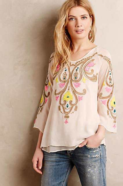 FIONA SILK PEASANT TOP
