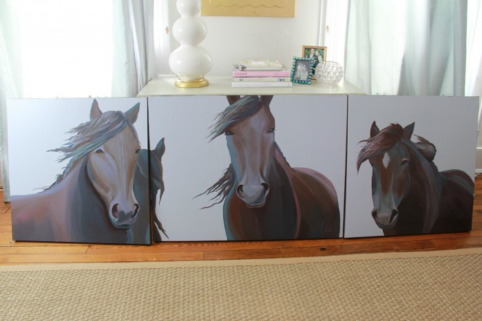 INSPIRATION 30 X 30, 30 X 40 AND 30 X 40. THIS PAINTING WAS INSPIRED BY THE WILD HORSES OF SABLE ISLAND