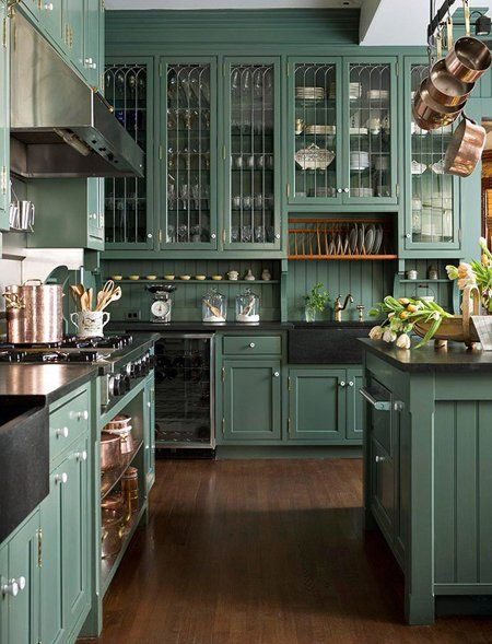 APARTMENT THERAPY - DARK GREEN KITCHENS