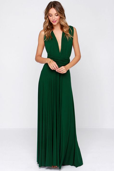 LULUS-Tricks of the Trade Forest Green Maxi Dress
