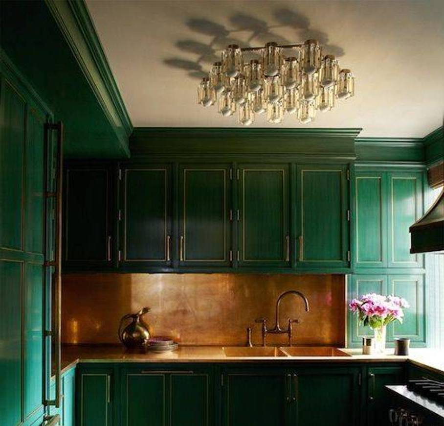 Kitchen With Forest Green Cabinets And Bronze Backsplash Flush Mount Chandelier