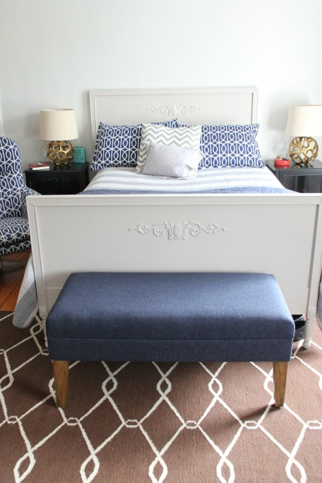 COOPER'S BED. HE AND I BUILT THE SIDE TABLES FROM TARGET