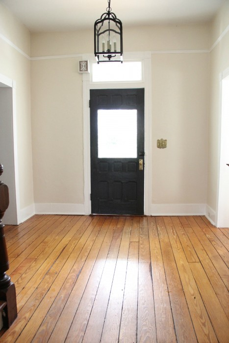 """OUR ENTRYWAY PAINTED SW STEAMED MILK WITH BENJAMIN MOORE """"CHANTILLY LACE"""" TRIM THROUGH-OUT"""