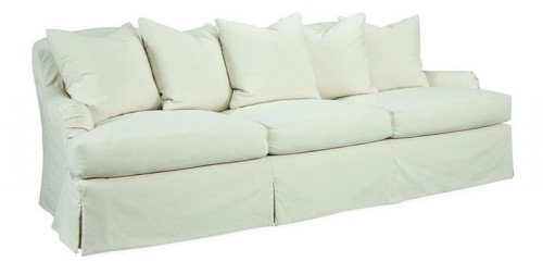 LEE INDUSTRIES ROLL ARM SOFA, SKIRTED AND SLIPCOVERED