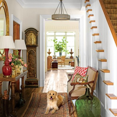 SOUTHERN LIVING MAGAZINE PHOTO OF THE ENTRYWAY...IF YOU NOTICE, SOME DETAILS WERE DIFFERENT ...IN REAL LIFE...SEE THE GRANDFATHER CLOCK?