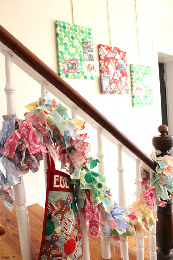 THE STOCKINGS HAND UP THE STAIRCASE UNTIL CHRISTMAS EVE. I PUT THE MESSAGE BOARDS OUT EVERY CHRISTMAS AND FILL THEM WITH CHRISTMAS CARDS!!!