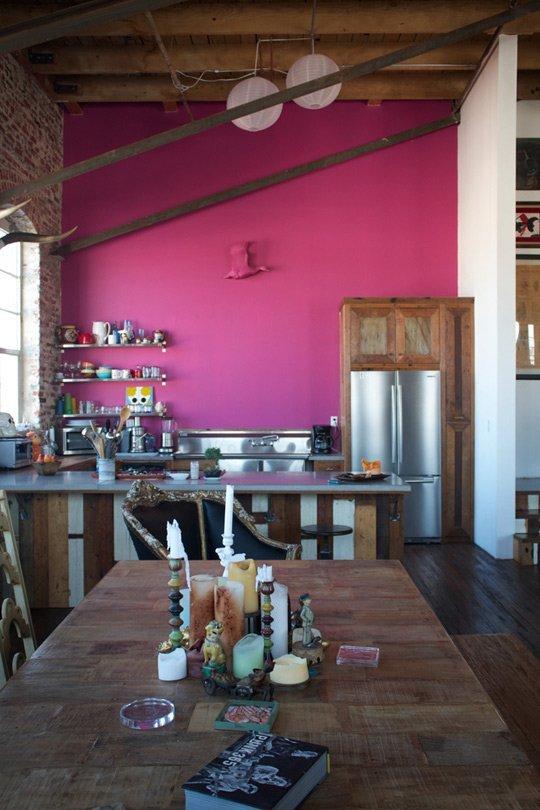 - Antonio Ballatore's Hot Pink Kitchen WallBethany Nauert