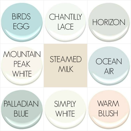 THE (WALL) PAINT COLORS OF MY OLD COUNTRY HOUSE - ALL BENJAMIN MOORE EXCEPT SHERWINN WILLIAMS STEAMED MILK