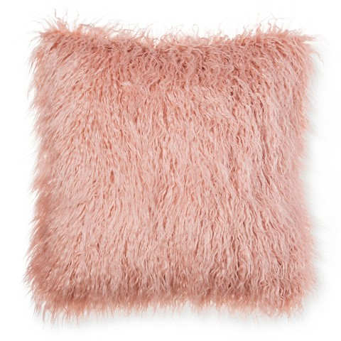 Threshold Pink Faux Mongolia Fur Pillow 18 22
