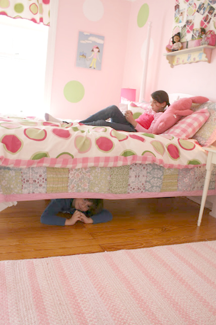 COOPER AND PHOEBE IN HER PINK AND GREEN PRE-TWEEN ROOM