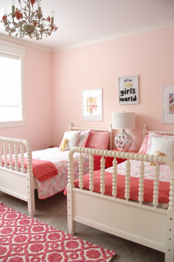 SHARED GIRLS BEDROOM IS A MIX OF PINKS AND CORALS - A SURPISING GREAT COMBINATION!