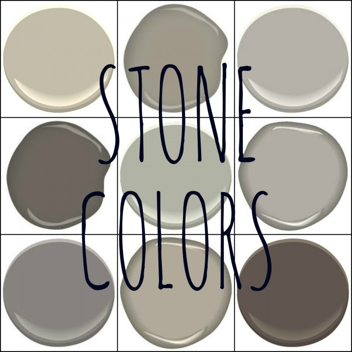 BENJAMIN MOORE STONE COLORS (top left across) - STONE HEARTH, GOTHIC ARCH, STONE HARBOR, COACHMANS CAPE, FIELD STONE, MUSEUM PIECE, STONE, UPPER WEST SIDE AND STONE BROWN